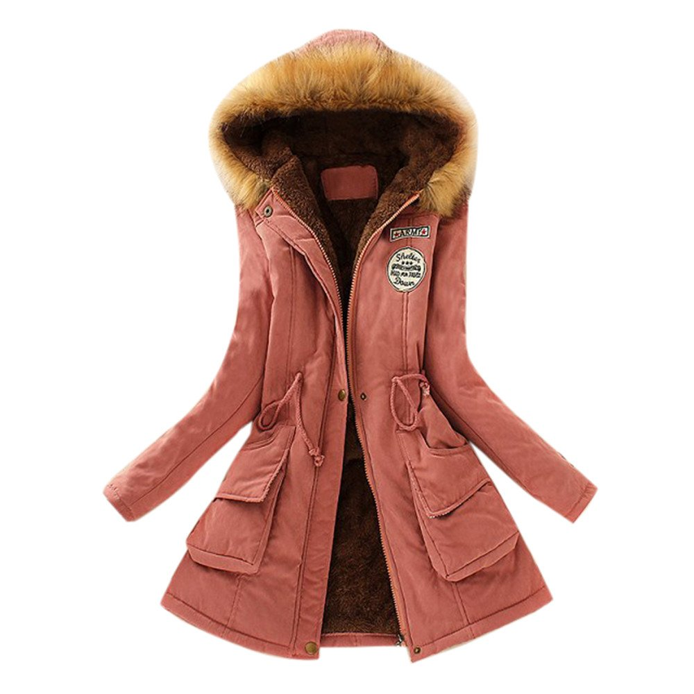Solid Womens Cotton Warm Long Coat Fur Collar Hooded Jacket Slim Winter Parka Outwear Coats by iYBUIA(Pink,S)