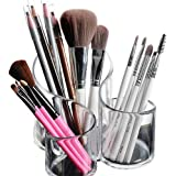 Bekith Large Wavy 3 Compartment Makeup Organizer Acrylic Multi-Purpose Makeup Brush and Cosmetic Holder