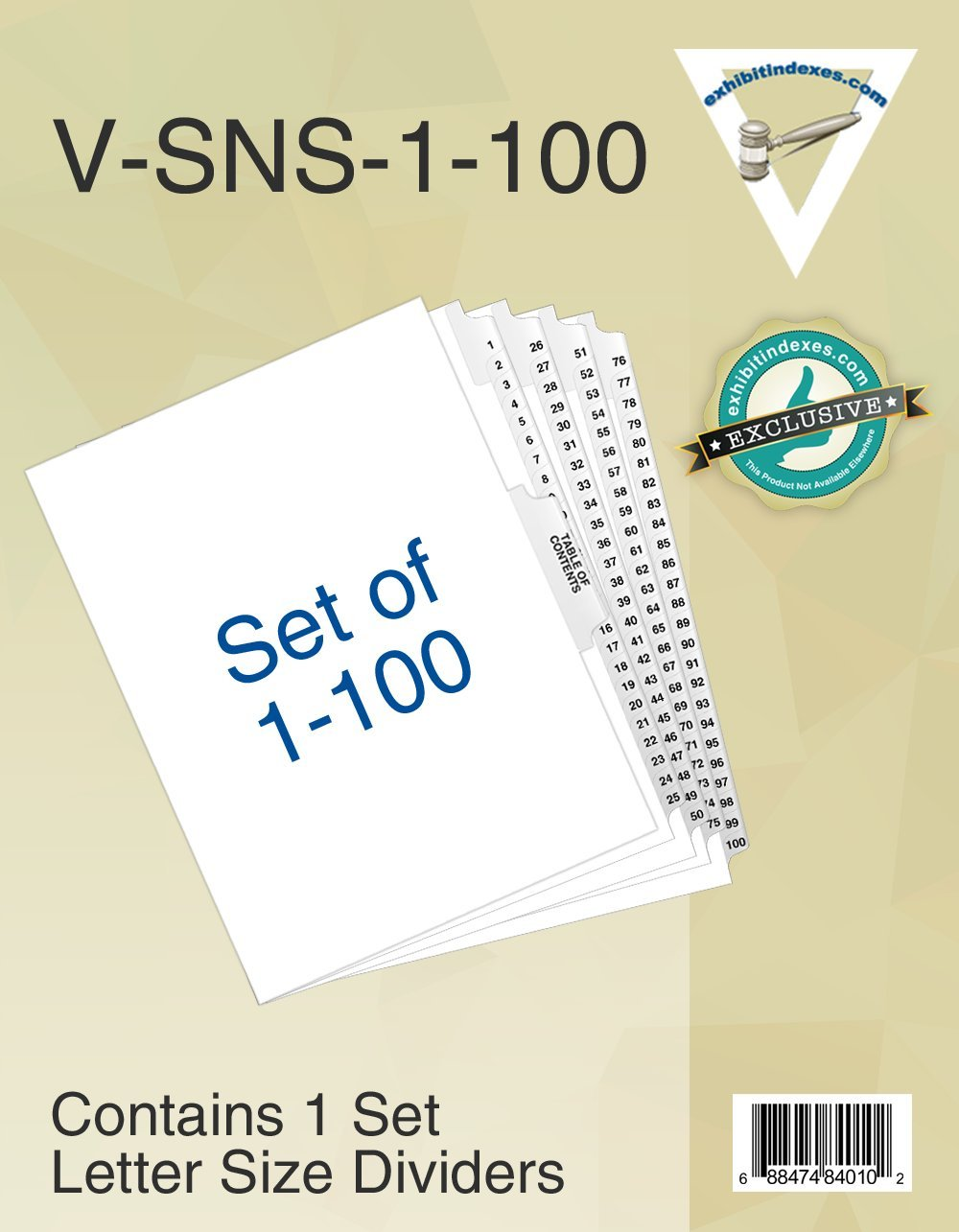 Numbered Dividers 1-100