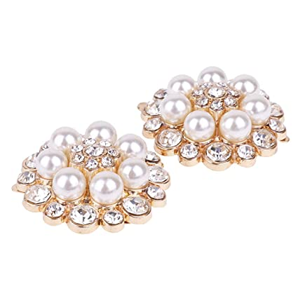CHICTRY 1 Pair Crystal Rhinestones Pearls Shoe Clips Fashion Charming  Womens Clutch Bag Dress Hat Shoes acc5220c0f