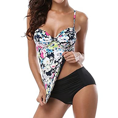 9ebb11a83b Tankini Plus Size Two Piece Swimsuit, Ladies Women Flower Printing Halter Swimwear  Push Up Bathing Suit Beachwear Swimming Costume Pink, Black, White, ...
