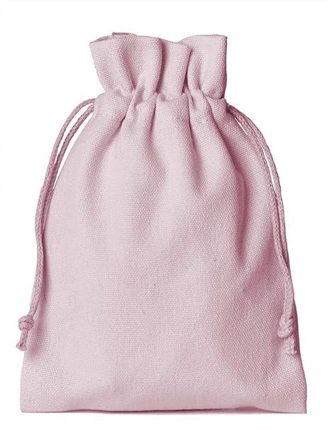 12 unidades bolsitas de algodón, bolsas de algodón, tamaño 15 x 10 cm con cordón para cerrar (rosa)