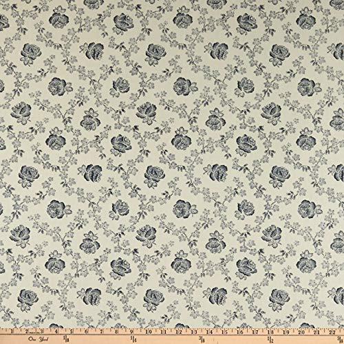 Abigail Blue Trellis Rose Cream Fabric by the Yard