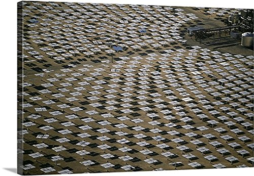 Great BIG Canvas Gallery-Wrapped Canvas entitled Field of solar-power 10 megawatt heliostat mirrors, Daggett, California by greatBIGcanvas