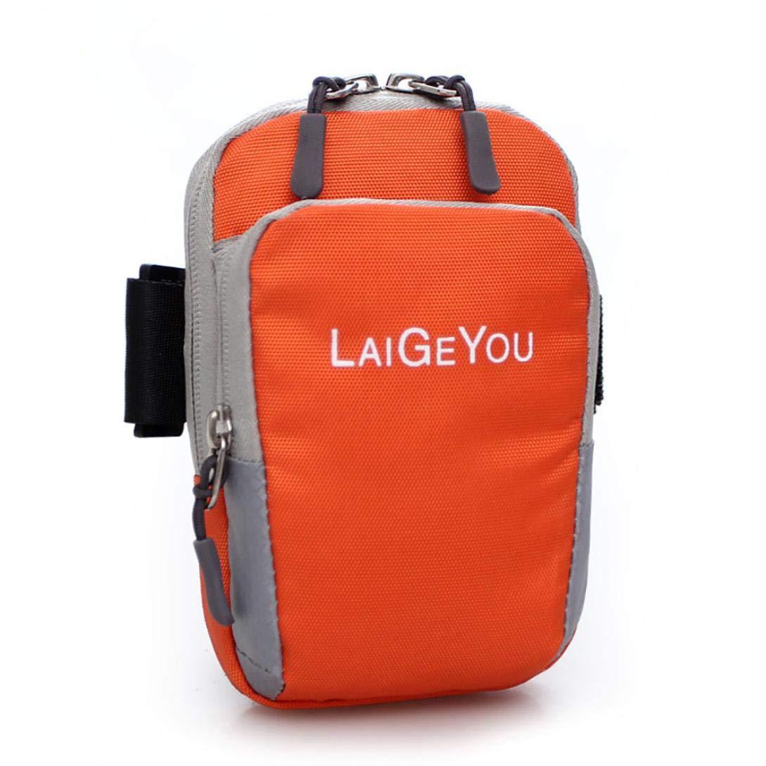 バックパック、YJYdada ナイロン ジッパー ランニング アウトドア 携帯電話バッグ レディース アームバッグ オレンジ  オレンジ B07G9X11BG