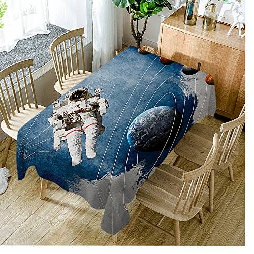 Moslion Tablecloth Outer Space Planetary Circles Multi tablecloths Rectangular Tablecloths Washable Decorative Polyester Tablecloth for Dining room 60 X 120 inch ()