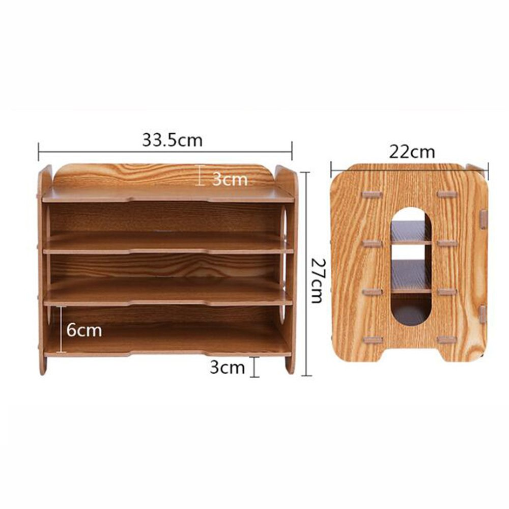 Bookcase Thick Wooden Desktop Storage Box Storage File Holder Multi-Layer Data Bookshelf Office Supplies Storage Box,WoodColor by ANHPI-bookcase (Image #2)