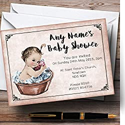Vintage Baby Girl In Washtub Personalized Baby Shower Invitations