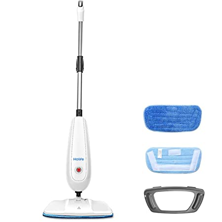 Holife Steam Mop Floor Steamer Cleaner, Tile and Hard Wood Floor Cleaner with 2 Microfiber Pads, Carpet Glider and Measuring Cup, Multipurpose Use for Cleaning Laminate Hardwood Tiles Carpet