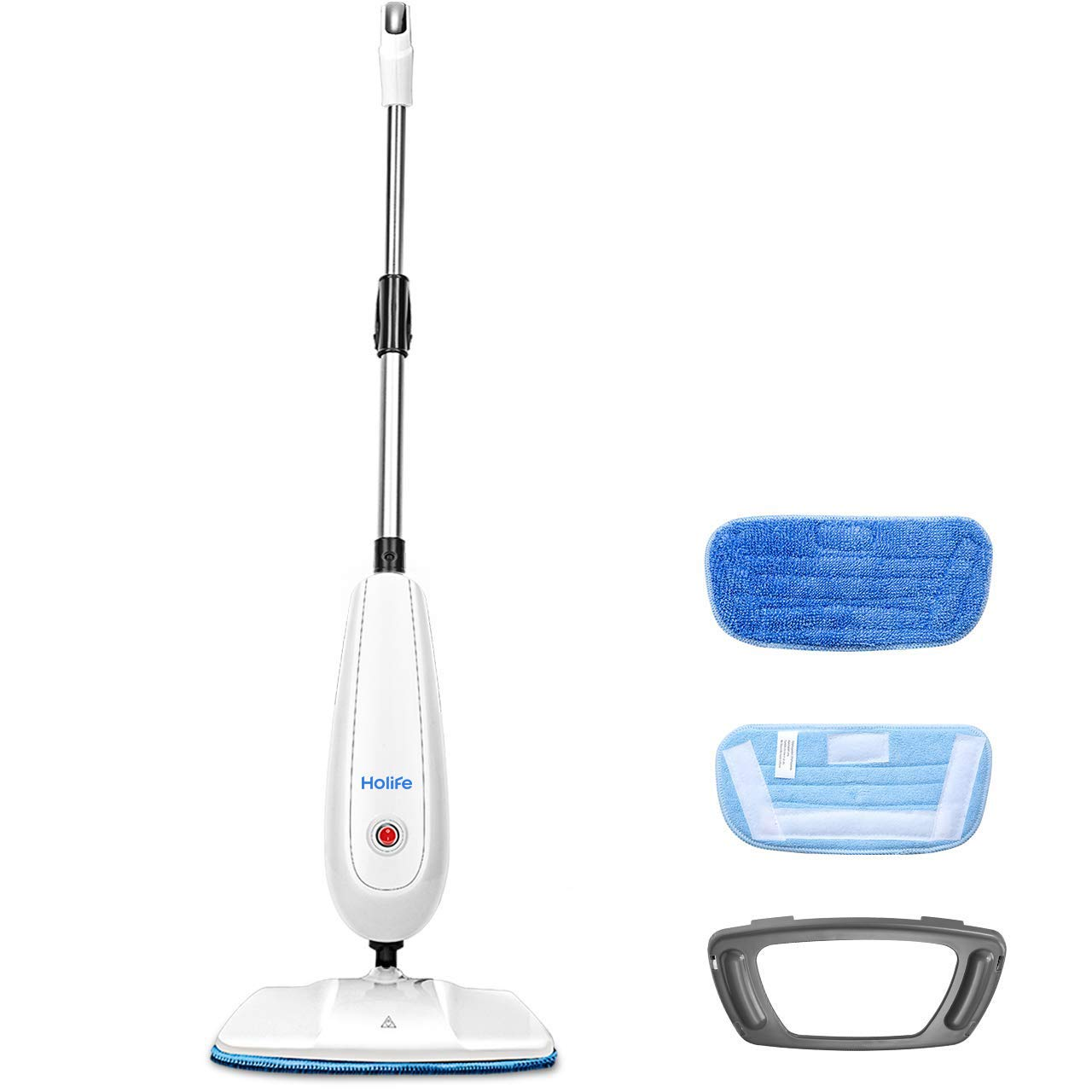 Holife Steam Mop Floor Steamer Cleaner, Tile and Hard Wood Floor Cleaner with 2 Microfiber Pads, Carpet Glider and Measuring Cup, Multipurpose Use for Cleaning Laminate/Hardwood/Tiles/Carpet