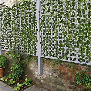 HOGADO Fake Vines, 79 FT Artificial Hanging Plants Silk Golden Devil's Ivy Leaves for Reptiles Wall Livingroom Outdoor Party Festival Decor Pack of 12 4