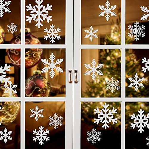 Lansian 81pcs White Snowflakes Window Clings Decal Stickers Christmas New Year Winter Wonderland Decorations Ornaments Frozen Party Supplies(3 Sheets, 81piece)]()