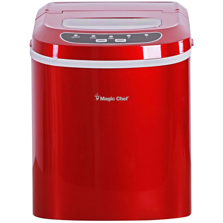 Magic Chef - [ MCIM22R ] 27 lb Ice Maker, Red