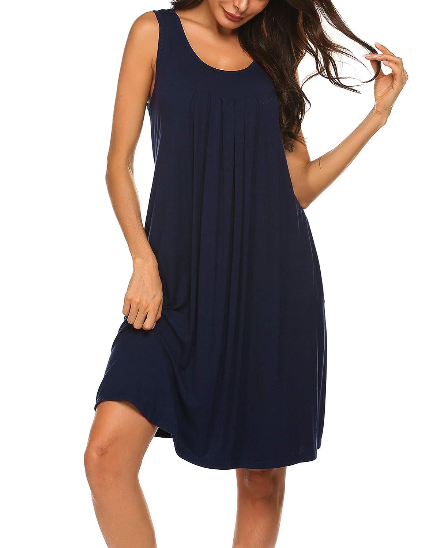 Hotouch Nightgown for Women Chemise Nightshirt V Neck Sleepshirt Pockets S-XXL