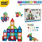 Smart Saver 3D Magnetic Magna-Tile for Kids – Set of 45 Blocks to Learn Shapes, Colors, & Alphabet – Magnetic Toys Develop Motor Skills & Creativity-Colorful, Durable 3D Premium Magnetic Magna Blocks