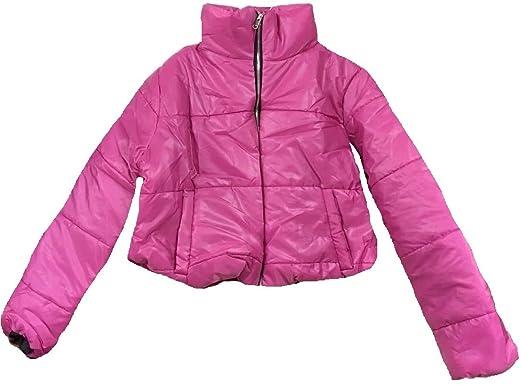 14a92414b0c Womens Wetlook Crop Jacket Warm Coats Padded Bomber Bubble Puffer Short  Cool UK [Fuchsia -