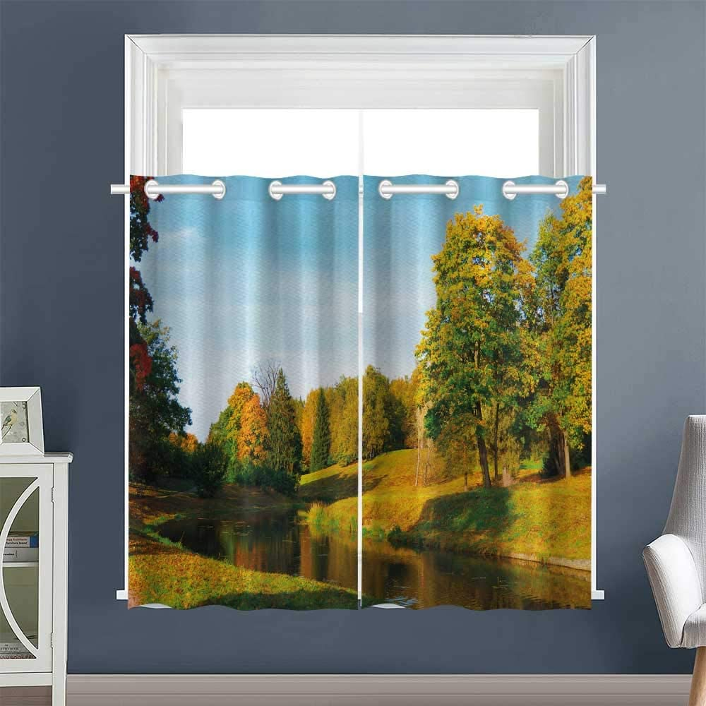 "Linhomedecor 2 Panel Darkening Curtains Natural Forest Park Grommet Microfiber Darkening Curtains Bedroom/Living Multicolor (1 Pair, 52"" Width x 63"" Length Each Panel)"