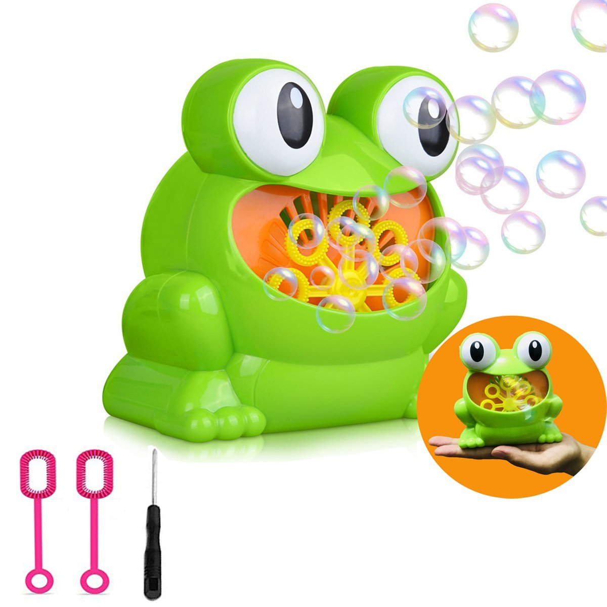 Automatic Bubble Machine, Green Frog Christmas Toys for Kids Durable Bubble Over 500 Bubbles Per Minute, Use Bubble Blowing Machine for Garden, Parties and Wedding, Battery Operated (Not Include)