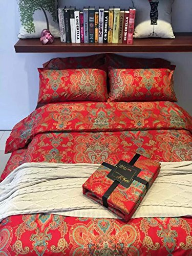 TheFit Paisley Textile Bedding for Adult U387 Red Gold Boho Bohemian Duvet Cover Set 100% Egyptian Cotton, Queen King Set, 4 Pieces (Queen) by TheFit