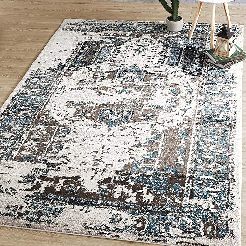 LNC 5 x 8 Mat Vintage Abstract Non Slip Coastal Style Area rug 5 x8 A03448