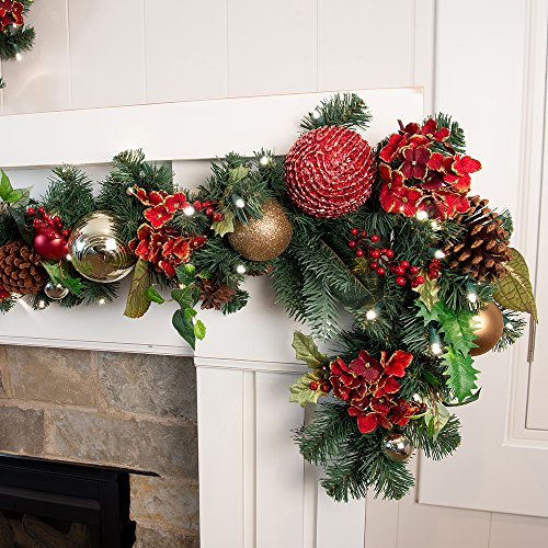 Scarlet Hydrangea 9' Pre-Lit Decorated Garland by VILLAGE LIGHTING COMPANY (Image #3)