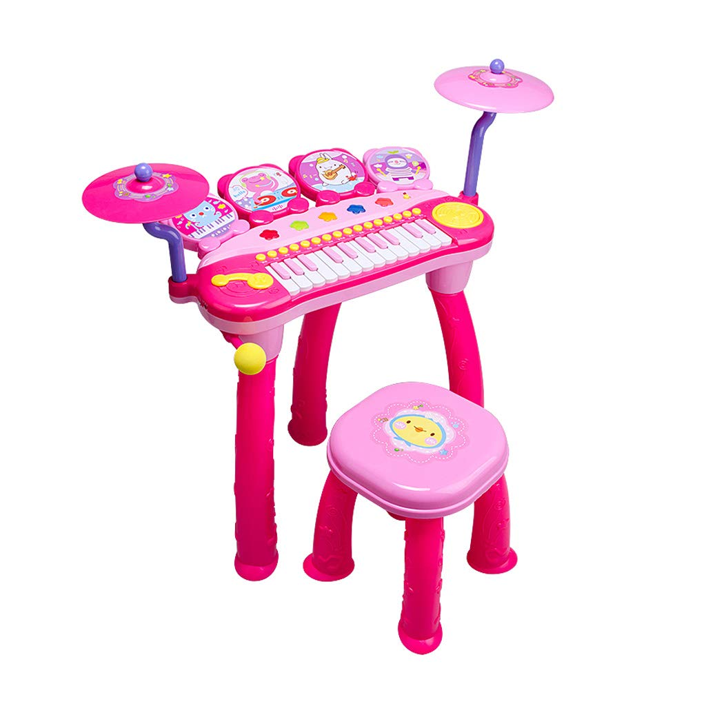 GLJJQMY Elektronisches Klavier Kinder Klavierspielzeug Trommel Kinder Klavier Baby Plug-in Anfänger Kinder Keyboard Klavier (Farbe   Rosa) Rosa