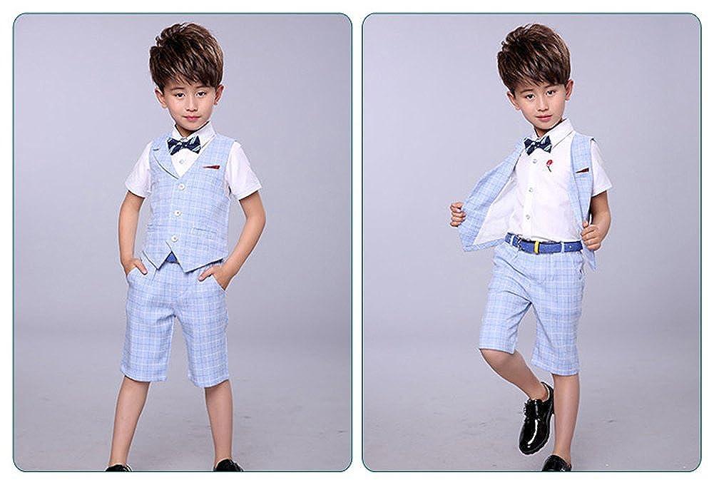 LOLANTA 4 Pieces Boys Summer Wedding Leisure Suit Vest Shirt Short with Bowtie