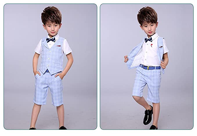 LOLANTA 4 Pieces Boys Summer Wedding Leisure Suit Vest Shirt Short with Bowtie