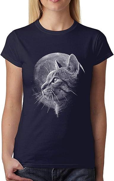avocadoWEAR Gato Luna Mujer Camiseta XS-3XL: Amazon.es: Ropa y accesorios