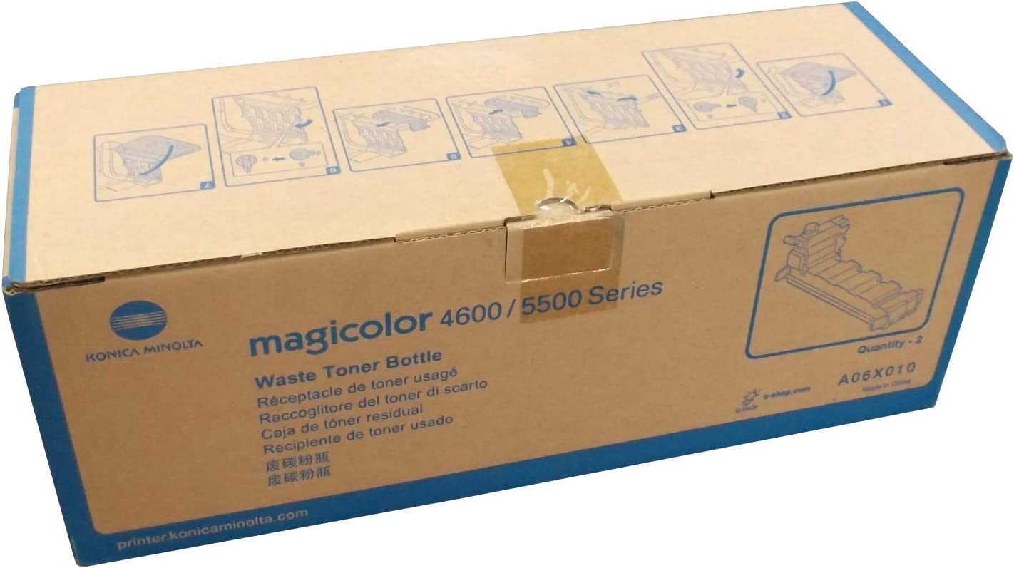 for MagiColor 4650 2//BX MagiColor 4690MF OEM A06X010 Toner Waste Container MagiColor 4695MF MagiColor 5550 Konica Minolta Genuine Brand Name MagiColor 5570 AKA A06X013 MagiColor 5650EN 36K YLD MagiColor 5670EN Printers