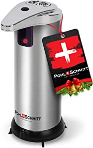 POHL SCHMITT Premium Soap Dispenser Touchless Automatic, Battery Operated Soap Dispenser, Waterproof and Leakproof, 3 Adjustment Levels, Stainless Steel, for Bathroom, Kitchen, Office and More