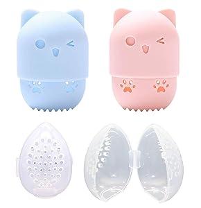 2 Breathable Silicone Makeup Sponge Travel Case/2 Protective Plastic Beauty Blender Holder, Pink/Blue