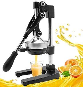 Moongiantgo Manual Juicer Hand Press Citrus Juicer Extractor Pomegranate Orange Lime Lemon Squeezer Fruit Juicer Machine (Black)