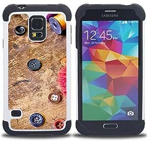 BullDog Case - FOR/Samsung Galaxy S5 I9600 G9009 G9008V / - / CREATIVITY BUTTONS FASHION DESIGN COLORUL /- H??brido Heavy Duty caja del tel??fono protector din??mico - silicona suave