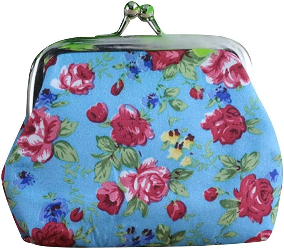 TOPUNDER Women Lady Retro Vintage Flower Small Wallet Hasp Purse Clutch Bag