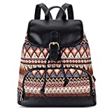 Vibiger Stylish Canvas Backpack Casual Bag Drawstring Backpacks School Bag Daypack with Delicate Printing for Women (C-Brown)