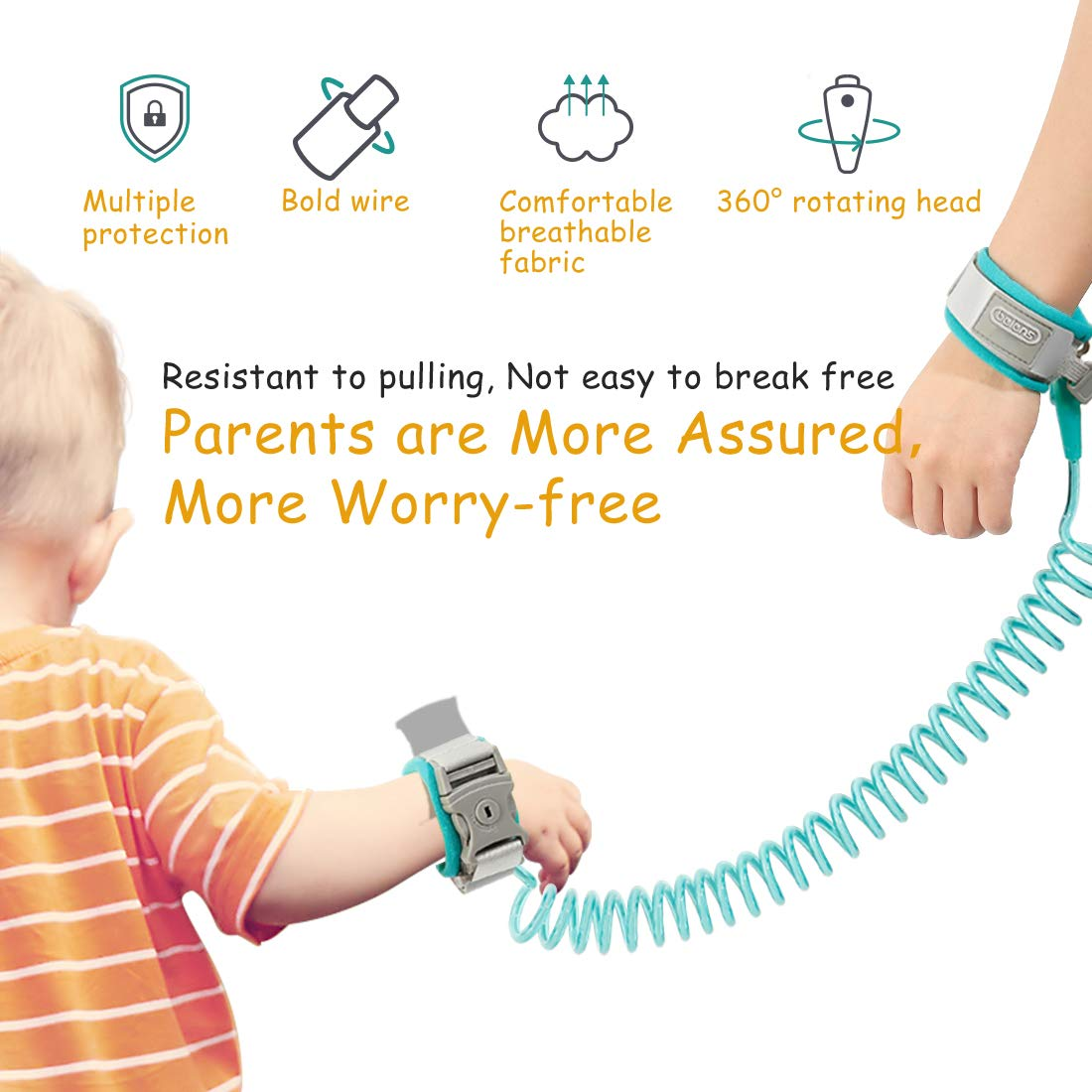 beiens Anti Lost Wrist Link,Child Leash,Safety Harness for Toddler Green Baby /& Kid,Orange-2M