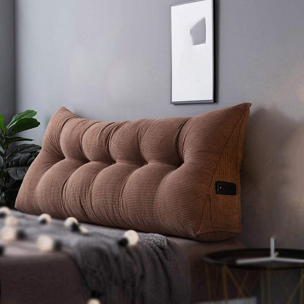 ZHZG Cojines de cabecera Almohadas de Cama Triangulares Paquete Suave Sofá Cojín de Respaldo Grande Respaldo de Cama de Tatami Desmontable y Lavable (Color : Brown, Size : 90cm(35.4 Inches))