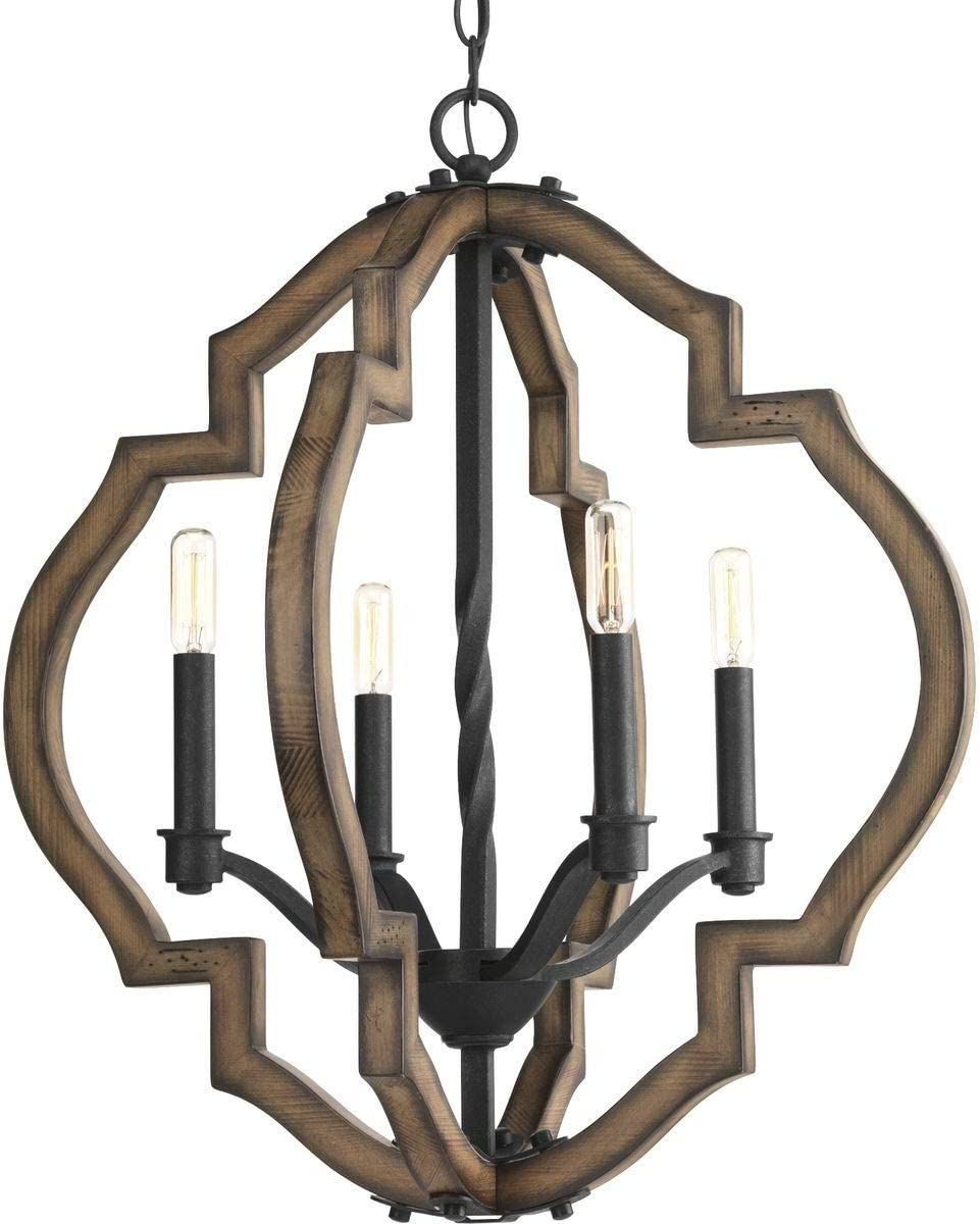 Progress Lighting P4766-71 Transitional Four Light Chandelier from Spicewood Collection in Bronze Dark Finish, Gilded Iron