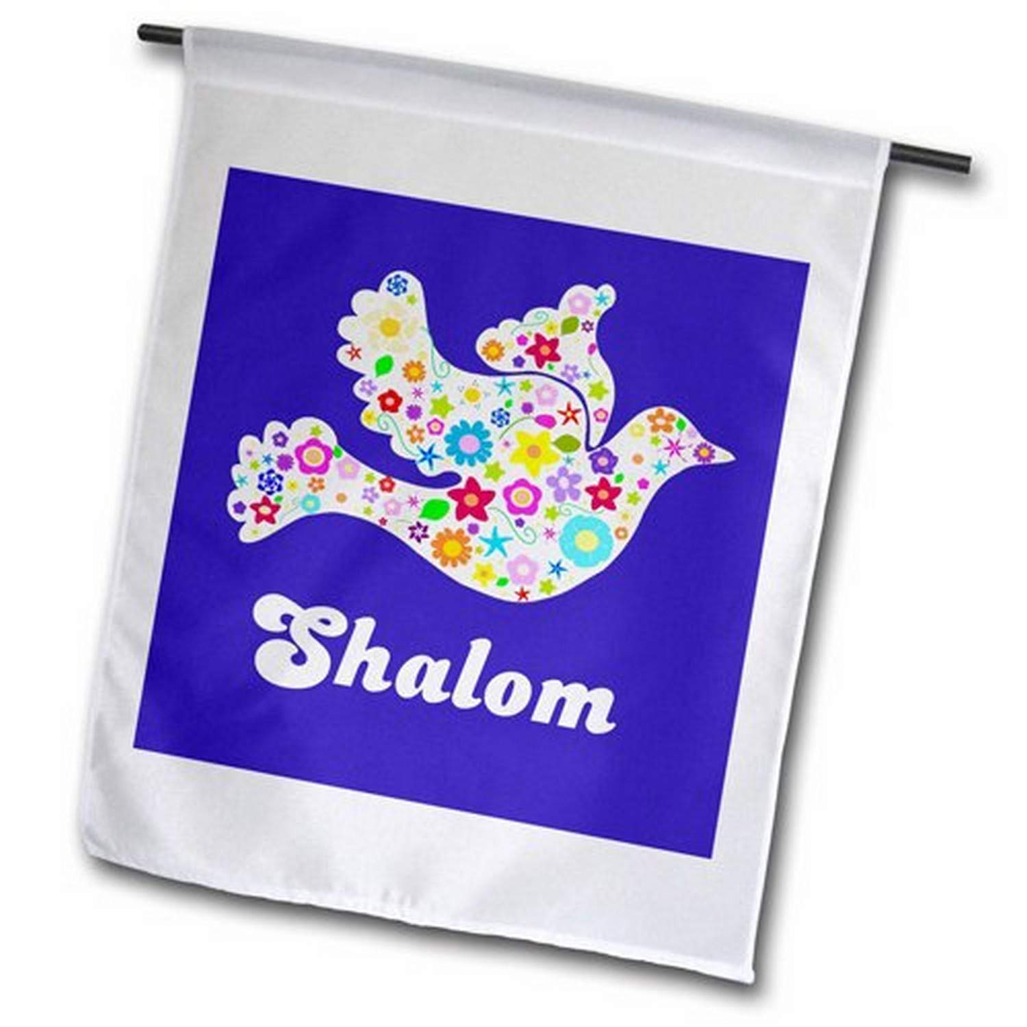 3dRose fl_58350_2 White Floral Dove of Peace with Shalom Text, Jewish, Hebrew, Judaism Garden Flag, 18 by 27""