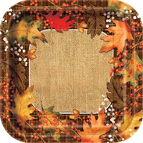 Square Rustic Autumn Leaves Dinner Plates, (Woodland Turkey Service Plate)
