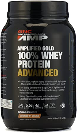 GNC AMP Amplified Gold 100% Whey Protein Advanced - 2.05 lbs, 0.93 Kg (Cookies & Cream) Whey Proteins at amazon