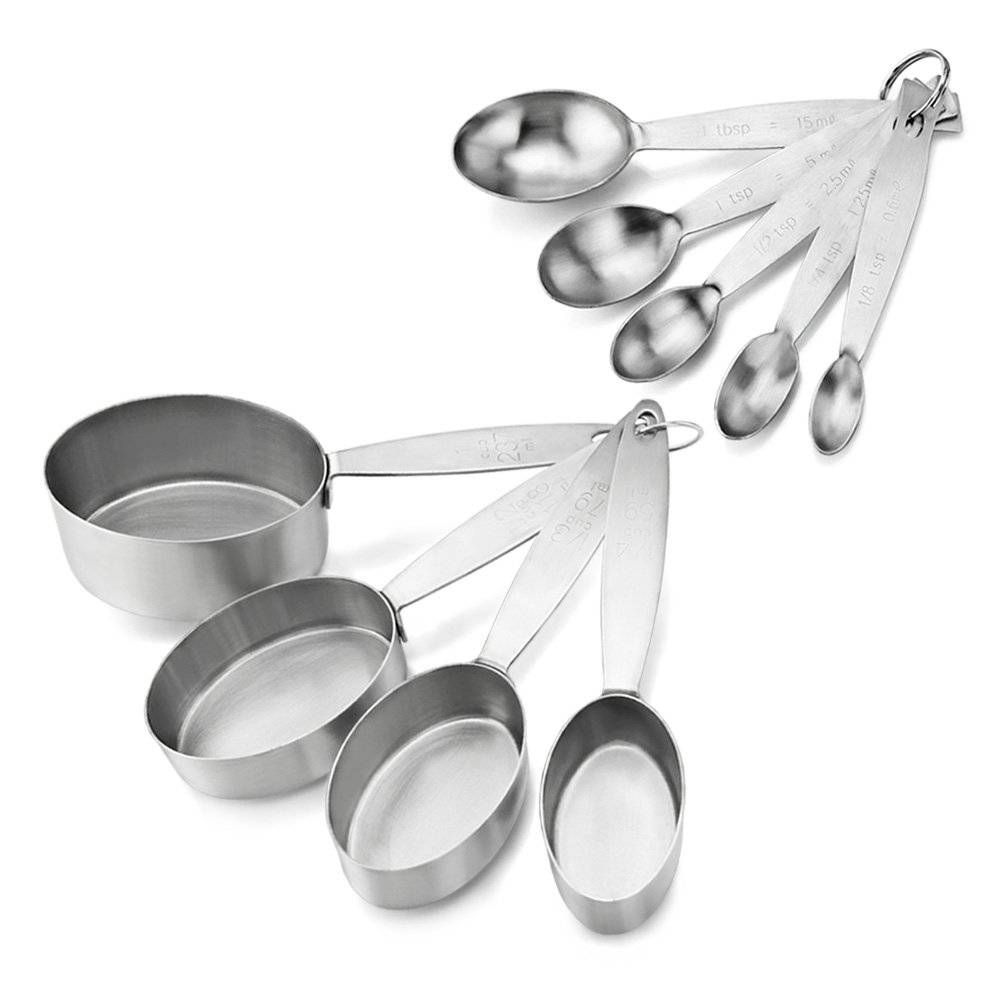 New Star Foodservice 42931 Commercial Quality Stainless Steel Oval Measuring Cups and Spoons Combo Set