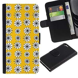 Billetera de Cuero Caso del tirón Titular de la tarjeta Carcasa Funda del zurriago para Apple Iphone 5 / 5S / Business Style Yellow Floral Pattern Flowers Modern