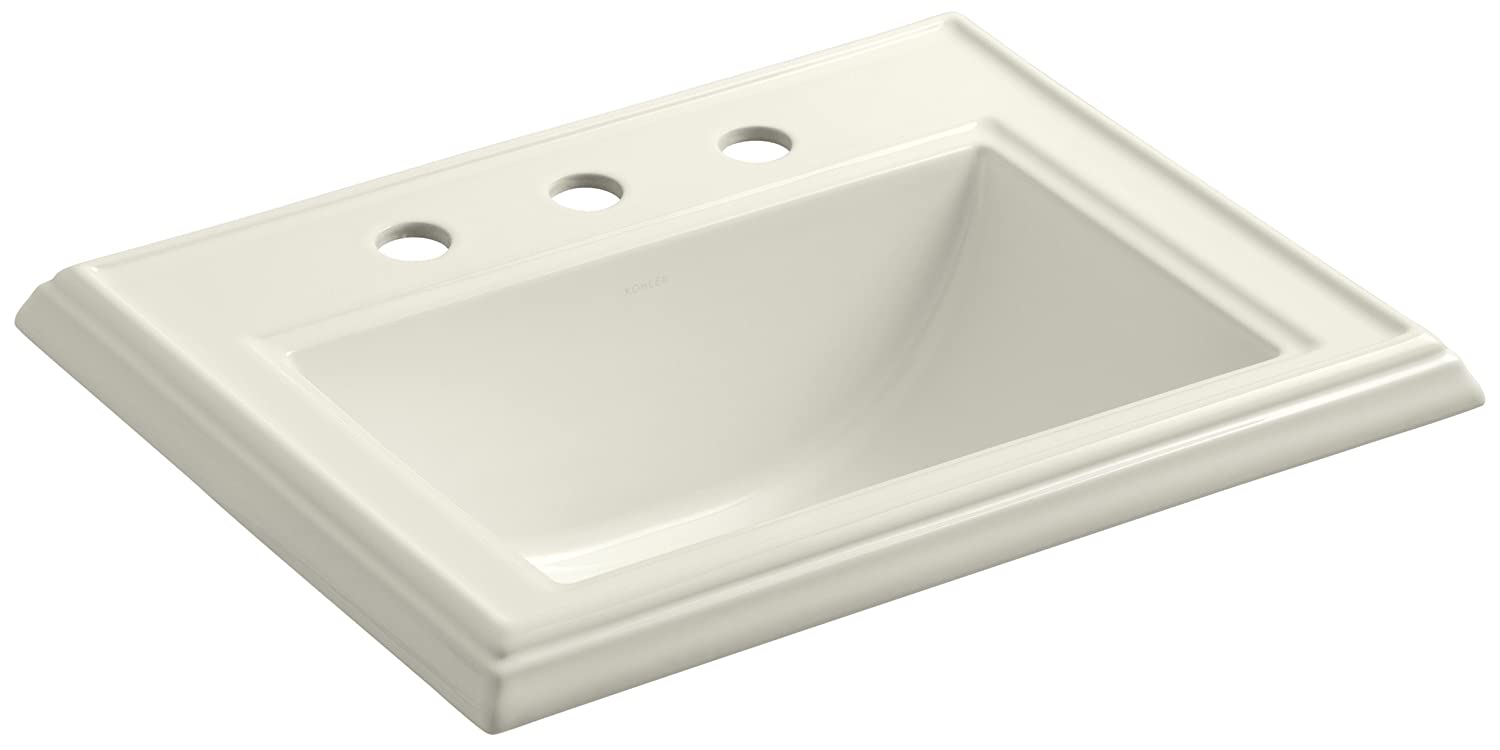 KOHLER K-2241-8-96 Memoirs Self-Rimming Bathroom Sink, Biscuit