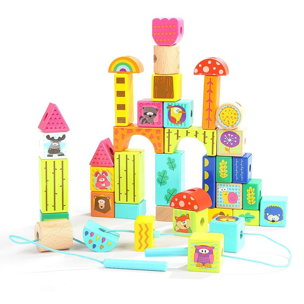 ZaiQu ベビービルディングブロック おもちゃ 農場テーマ 子供用 教育 ステッチ ビーズシーン マッチングゲーム 1~3歳   B07L7JYRB8