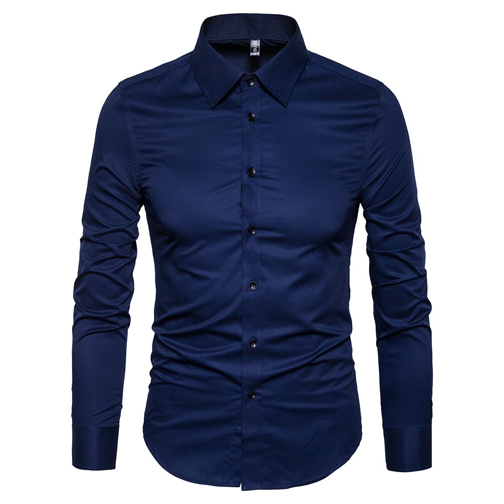 Manwan walk Men's Slim Fit Business Casual Cotton Long Sleeves Solid Button Down Dress Shirts (Small Navy bluee)