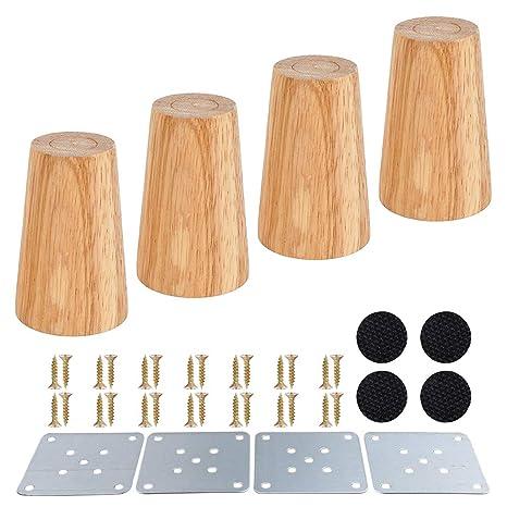 Patas de madera para sofá de 4 piezas, patas de madera fiables, patas de muebles, color madera cónica para patas de armarios y sofás