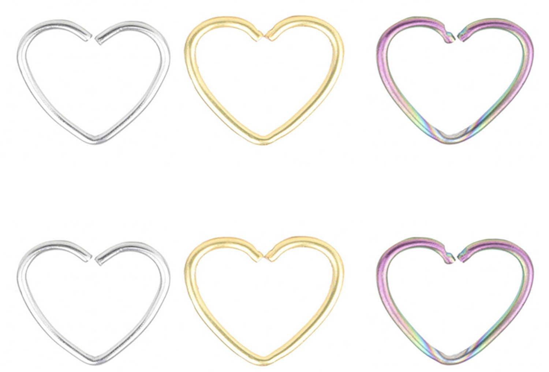 FB 18G 316L Surgical Steel Heart Shape Earring Nose Hoop Nose Rings Cartilage Earring Body Piercing Jewelry