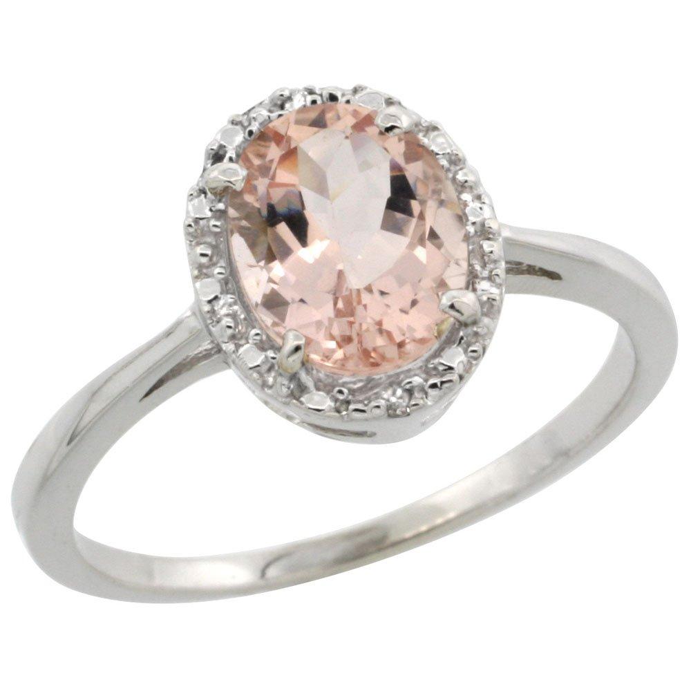10k White Gold Natural Morganite Ring Oval 8x6 mm Diamond Halo, size 10